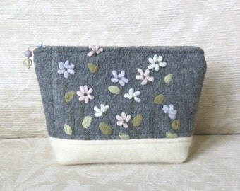 Spring Flowers Zippered Pouch 2, Gray and White, Floral Upcycled Felted Sweater Wool Clutch