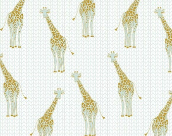 Safari Party Giraffe Mint with Gold Sparkle - mint, gold, and white giraffe print - Safari Party Fabric from Riley Blake - 100% cotton