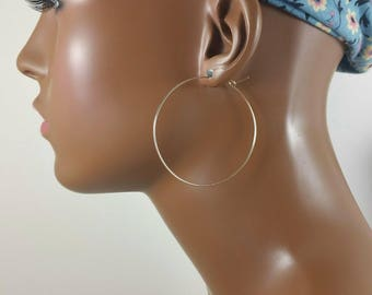 Gold hoop earrings 2.5 inch 14k gold filled or gold plated basketball wives threader earrings 697