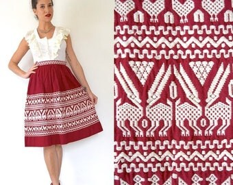 SUMMER SALE / 20% off Vintage 50s 60s Burgundy Red South American Embroidered High Waisted A Line Skirt (size xs)