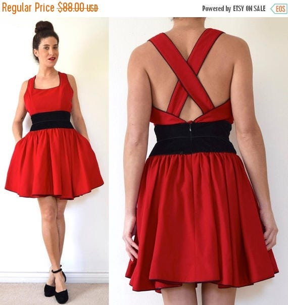 SALE SECTION / 50% off Vintage 90s Ladies Choice Red Wool Blend Mini Dress with Velvet Waistband and Criss Cross Back (size medium)