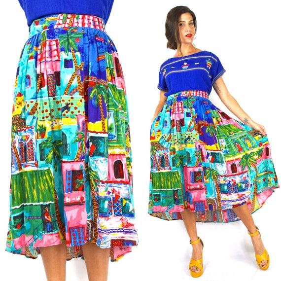 Vintage 90s Tropical Village Scene Novelty Print High Waisted A Line Skirt (size large, extra large)