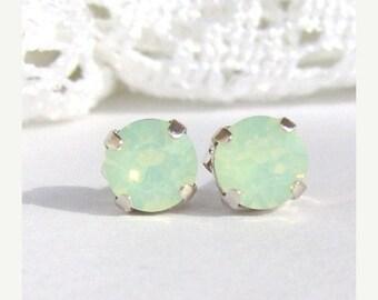 SALE Chrysolite Opal rhinestone stud earrings / mint green earrings / Swarovski crystal / gift for her / birthday gift / surgical steel / se