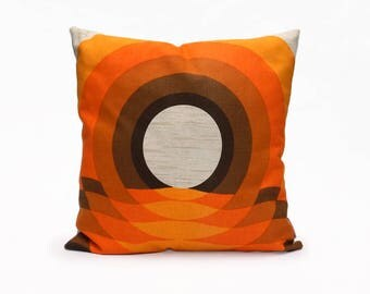 Modern Pillow Sham - Orange Trow Pillow - 70s Cushion Cover Handmade by EllaOsix