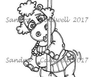 1745 Hippo Pole Dancer Digi Stamp