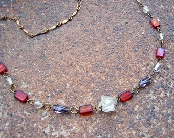 Eco-Friendly Statement Necklace - Splendor in the Glass - Recycled Vintage Chain with Hook Clasp and Beads in Ruby Red, Clear and Smoke Grey