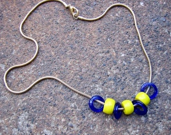 Eco-Friendly Slide Bead Statement Necklace - Come With Me Now - Recycled Vintage Snake Chain, Glass Beads in Bright Yellow and Cobalt Blue