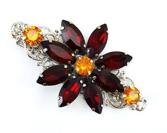 Red Flower Rhinestone Hair Clip - Red Daisy Hair Clip, Red Rhinestone Hair Clip, Red Crystal Clip, Red Hair Accessories Prom