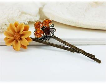 Vintage Style Topaz Bornw Hair Pins - Topaz Flower Bobby Pins, Rustic Hair Pins, Autumn Hair Accessories, Amber Hair Accessory