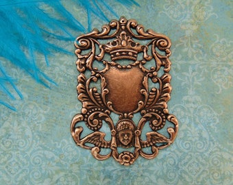ANTIQUE COPPER * Crest Ornate Heraldry Shield / Angel - Crown Stamping - Jewelry Findings (FA-6072)