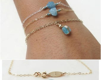 ON SALE Personazlized Raw Crystal Bracelet Sky Blue Aquamarine Bracelet Bridesmaids Jewelry Friendship Bracelet Dainty Bracelet