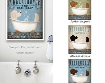 Labradoodle doodle dog bath soap Company artwork giclee signed UNFRAMED print with border