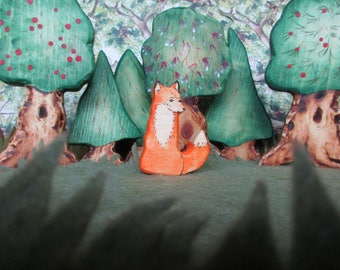 Wooden Fox Toy - Waldorf Nature Table- Forest animal Montessori materials Pretend play sly fellow