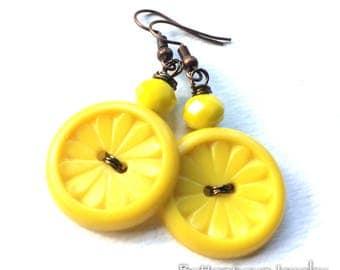 Bright Yellow Flower Vintage Button Earrings -Retro Design