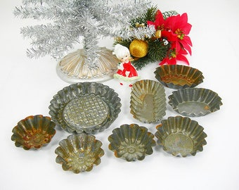Small Distressed Tart Tins for Making Rustic Christmas Tree Ornaments - 8 + 1 Tins - Different Shapes - Crafting Supply - Metal - Holidays