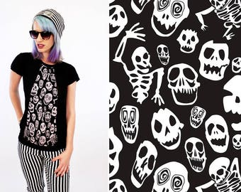 Oldskool halloween skull skeleton tee shirt | Black skull shirt | alternative tshirt cyberpunk skeleton shirt  goth shirt