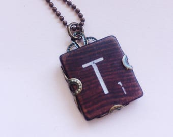 Letter T Necklace,  Scrabble Initial Pendant, Uppercase T Necklace, Personalized Vintage Repurposed Scrabble Tile Wrapped in Filagree Metal