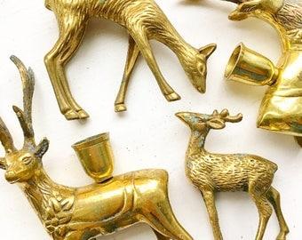 Doe A Deer... Vintage Brass Mid Century Modern Deer Reindeer Candle Holders Candlesticks Candle Sticks Buck and Doe Woodland Christmas Decor