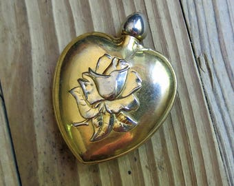 Small Vintage Metal Perfume Bottle with Dauber, Screw Lid ... Heart Perfume Case, High Relief Rose Design - SALE