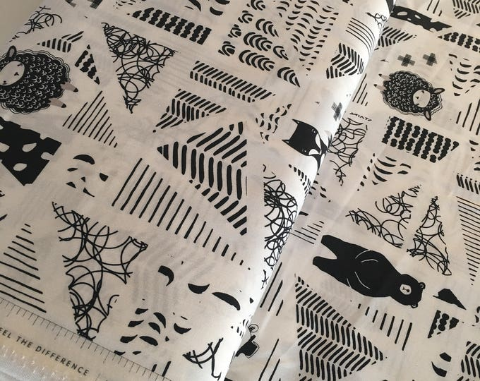 Nest fabric by Art Gallery, Gender Neutral Fabric, Black and White Decor, Nursery, Girl or Boy Baby Quilt, Swirly Friends - Choose your cut