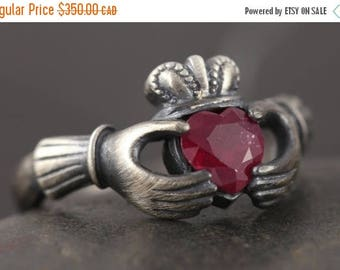 CLOSING SALE Natural Ruby claddagh ring in antiqued sterling silver - Sizze 4 3/4 and 6 ready to ship