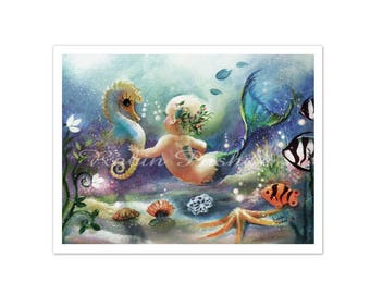 Baby Mermaid and Sea Horse art,PRINT from original