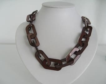 Long Trendy Lucite Chain Necklace in Dark brown shade with silver chain and silver clasp Statement Necklace