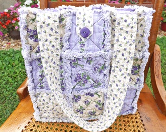 Purple Flowers Rag Quilt Tote - Floral Tote - Purple Tote - Purple Rag Tote - Flowers Rag Tote - Handbag