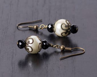 Baroque Inspired Black Crystal and Faux Pearl Drop/Dangle Earrings-Gothic/Antique Style