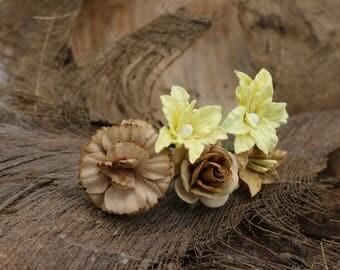 Set of 5  Yellow Brown  Roses, Mulberry Paper Flower Hair Pins , Bridal Hair Pins, Hair Bobby Pins,U pins,Prom,Bridal Hair Pins(FL359)