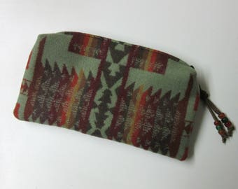 Wool Zippered Pouch Pencil Case Purse Organizer Cosmetic Accessory Bag Blanket Wool from Pendleton Oregon