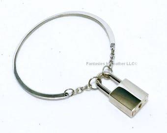 Stainless Locking BDSM Slave Bangle Bracelet  (RST124)