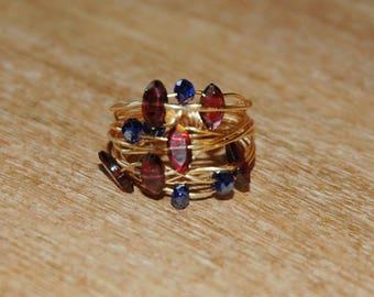 Gold Garnet Wire Wrap Ring / Gold Garnet Nest Ring / Gold Wire Wrapped Ring with Oval Cut Garnet Gemstones and Sapphire Blue Czech Crystals