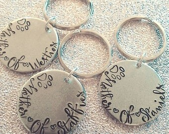 Mother of Pets Keychain - Hand Stamped Keychain  - Furbaby Mum - Dog Mummy - For Her- Mother's Day- Key Ring - Westie - Staffie - Spaniel