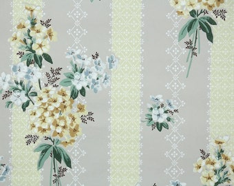 1940s Vintage Wallpaper by the Yard - Gold and Blue Hydrangeas with Yellow Lace Stripe