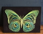 Vintage String Art Butterfly on Velvet String Sculpture Yellow Blue Green Completed