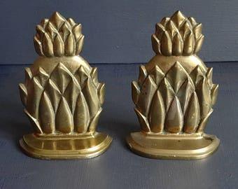 Pair Brass Pineapple Bookends Brass Bookends