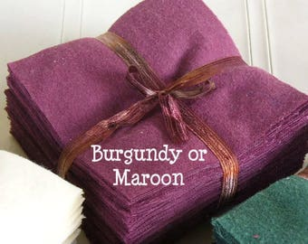 Solid TAWNY PORT maroon burgundy, FLANNEL Fabric Squares,  Rag Quilt, Traditional Quilting, pick size & quantity, We Cut You Sew