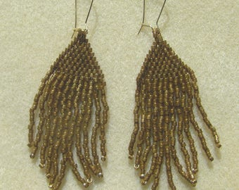 Bronze Seed Bead Handstitched Earrings