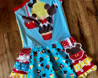 Custom mouse food treats apple dole whip ruffle open shoulder dress boutique size 2t-12/14 vacation parks