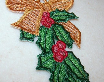 Holly ribbon Christmas ornament free standing lace