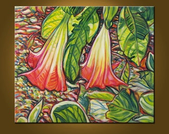 Angel Trumpets -- Fresh Like a Breeze -- 20 x 24 inch Original Oil Painting by Elizabeth Graf -- Art Painting, Art & Collectibles