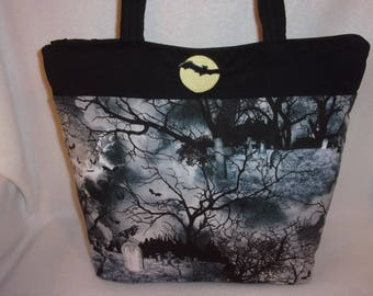 Halloween Gothic graveyard raven Wicked haunted house handbag tote purse fun bag for all ages personalize choose the moon and bat or a name