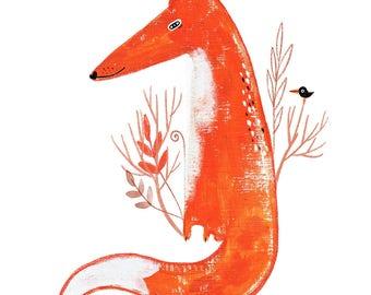 Fox Illustration, Fox Wall Art, Orange Fox Print, Cute Fox