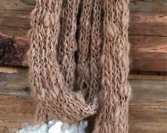 Alpaca scarf, super soft, handspun yarn, hand knit with locks trim, skinny scarf