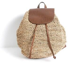 JUTE sisal woven 80s 90s KNAPSACK drawstring backpack TOTE bucket bag