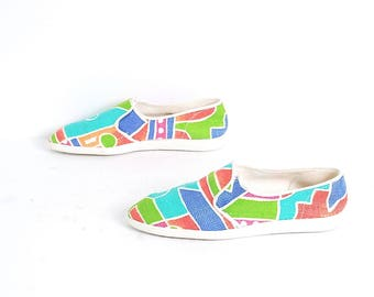 size 7.5 COLORBLOCK white 80s 90s KEDS style slip on elastic flats