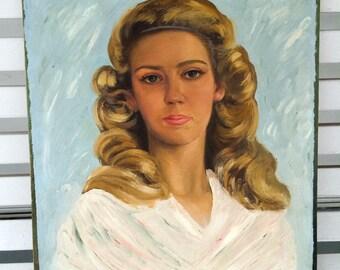 1960s Vintage Original Art artwork Blonde lady girl woman portrait oil painting artist MCM