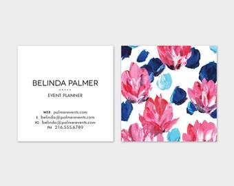 Blue + Pink Floral  Calling Cards | Business Cards | Blogger Cards | Set (50)