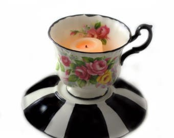 Tea Cup Candle Votive - Antique Fine Bone China - Springtime - Tim Burton Inspired - Alice in Wonderland - Tea Lovers Gifts
